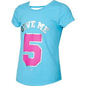 Reebok Girls' Cotton Give Me 5 Graphic Strap Back T-Shirt