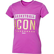 Reebok Girls' V-Neck Basketball Icon Graphic T-Shirt