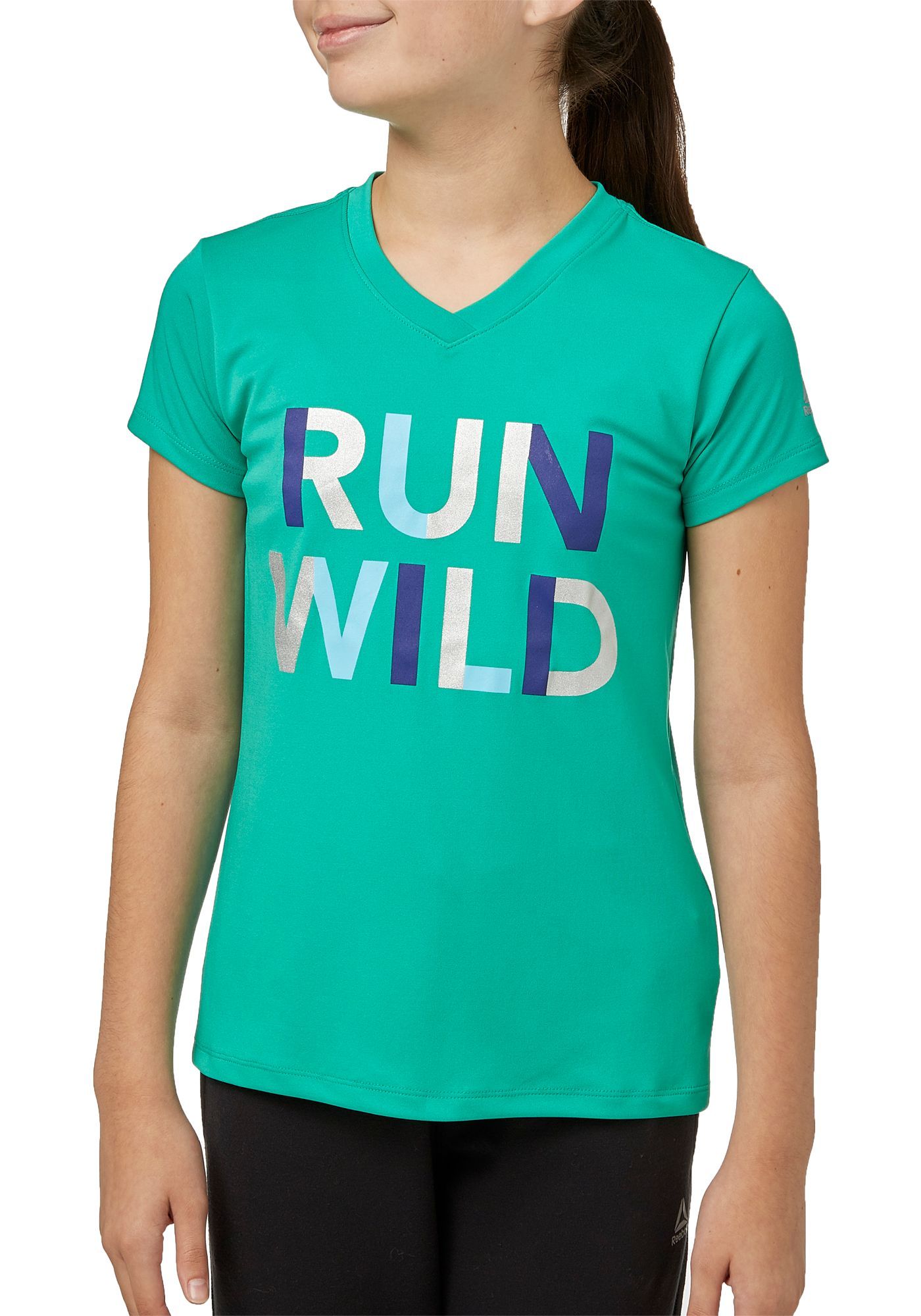 Reebok Girls' Graphic V-Neck T-Shirt