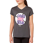 Reebok Girls' Heather Graphic V-Neck T-Shirt