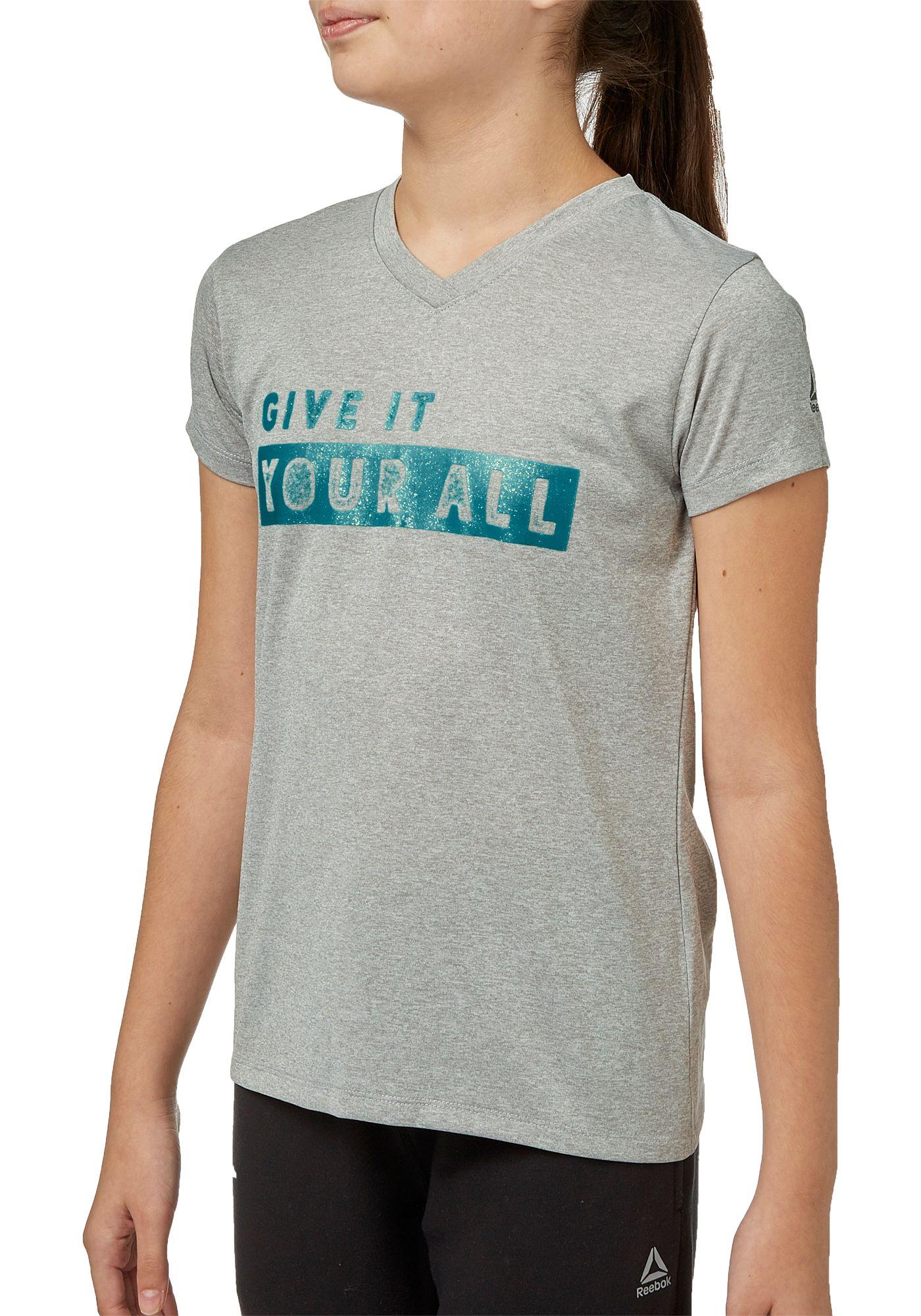 Reebok Girls' Heather Graphic V-Neck T-Shirt