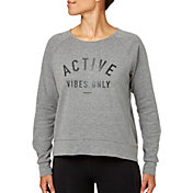 Reebok Women's Mesh Back Jersey Heather Crewneck Sweatshirt