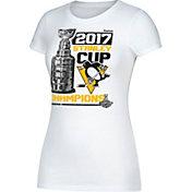 Reebok Women's 2017 NHL Stanley Cup Champions Pittsburgh Penguins Locker Room White T-Shirt