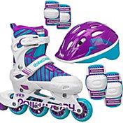 Roller Derby Girls' Carver Adjustable Inline Skates and Protective Pack