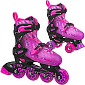 Roller Derby Girls' Flux Adjustable 2-in-1 Inline and Quad Combo Skates
