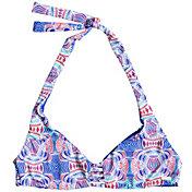 Roxy Women's Printed Strappy Love Reversible Halter Bikini Top