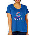 Soft As A Grape Women's Chicago Cubs Tri-Blend Crew T-Shirt - Plus Size