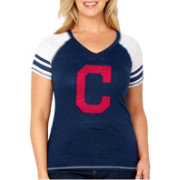 Soft As A Grape Women's Cleveland Indians Tri-Blend V-Neck T-Shirt - Plus Size