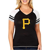 Soft As A Grape Women's Pittsburgh Pirates Tri-Blend V-Neck T-Shirt - Plus Size
