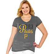Soft As A Grape Women's Pittsburgh Pirates Tri-Blend Grey V-Neck T-Shirt - Plus Size