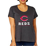 Soft As A Grape Women's Cincinnati Reds Tri-Blend Crew T-Shirt - Plus Size