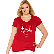 Soft As A Grape Women's Boston Red Sox Tri-Blend Red V-Neck T-Shirt - Plus Size