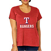 Soft As A Grape Women's Texas Rangers Tri-Blend Crew T-Shirt - Plus Size