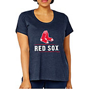 Soft As A Grape Women's Boston Red Sox Tri-Blend Crew T-Shirt - Plus Size