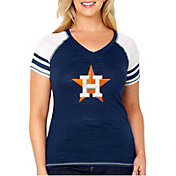 Soft As A Grape Women's Houston Astros Tri-Blend V-Neck T-Shirt - Plus Size