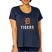 Soft As A Grape Women's Detroit Tigers Tri-Blend Crew T-Shirt - Plus Size