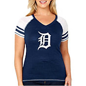 Soft As A Grape Women's Detroit Tigers Tri-Blend V-Neck T-Shirt - Plus Size