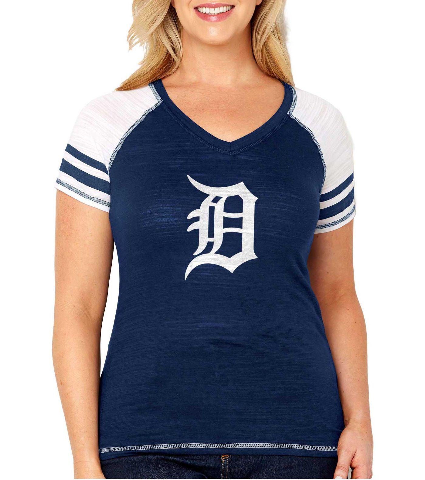 Soft As A Grape Women's Detroit Tigers Tri-Blend V-Neck T-Shirt - Plus Size