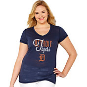 Soft As A Grape Women's Detroit Tigers Tri-Blend Navy V-Neck T-Shirt - Plus Size