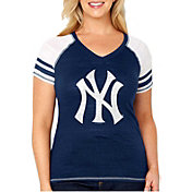 Soft As A Grape Women's New York Yankees Tri-Blend V-Neck T-Shirt - Plus Size