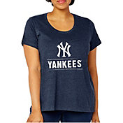 Soft As A Grape Women's New York Yankees Tri-Blend Crew T-Shirt - Plus Size