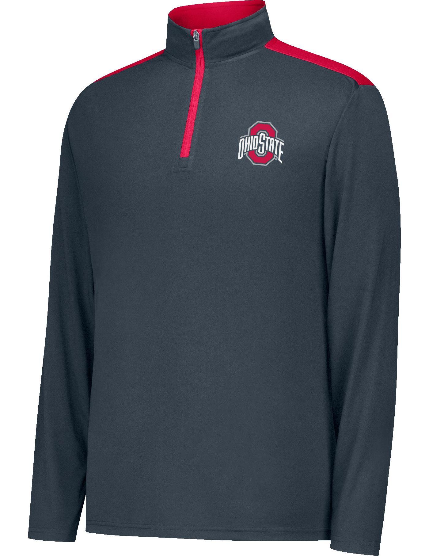 Scarlet & Gray Men's Ohio State Buckeyes Gray Get Up Quarter-Zip Top