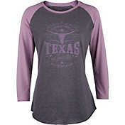 Soffe Women's Graphic Heathered Baseball 3/4 Sleeve Shirt
