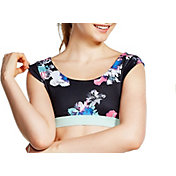 Soffe Juniors' Crop Top T-Shirt in Floral Motion Cluster