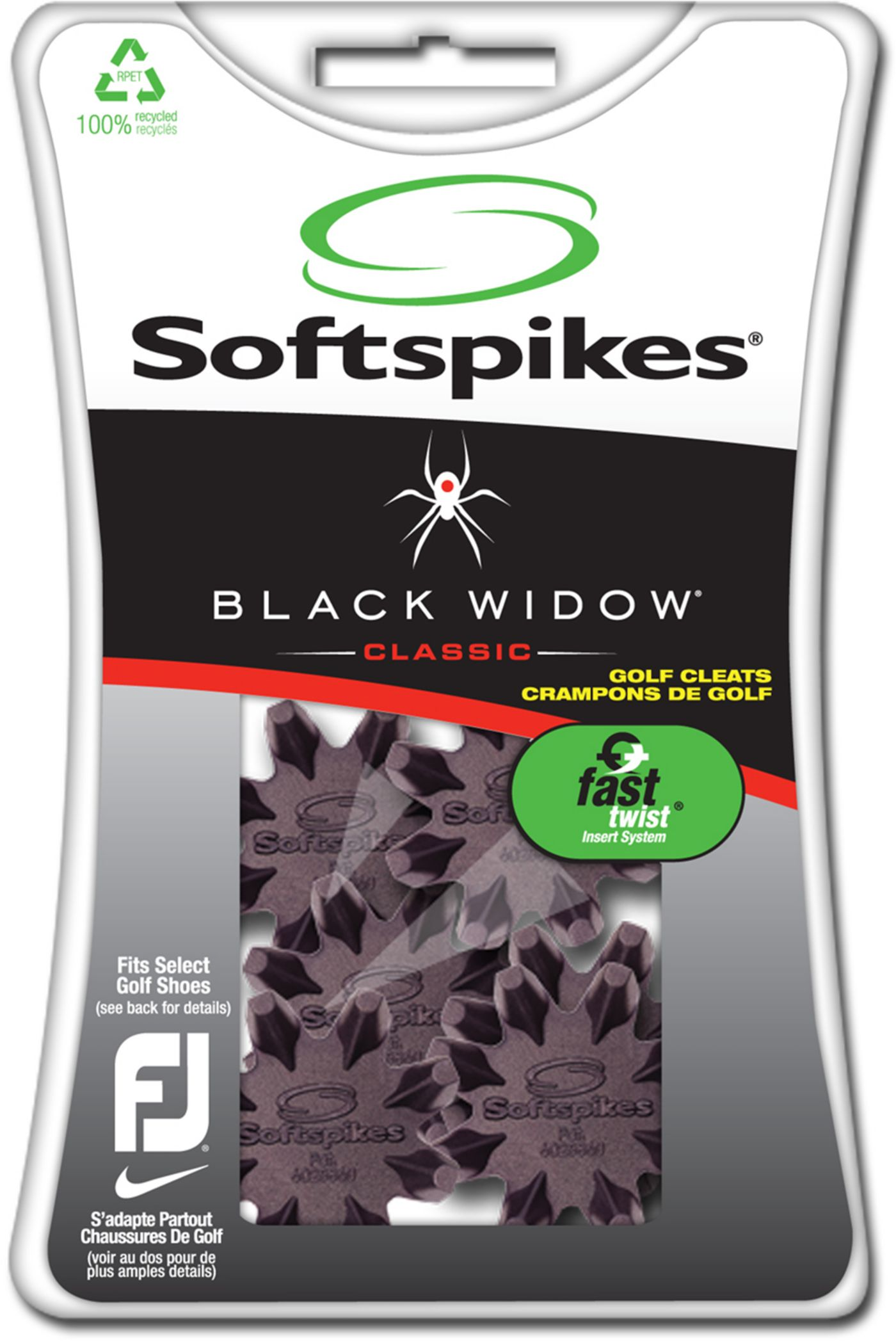 Softspikes Black Widow Fast Twist Golf Spikes - 16 Pack