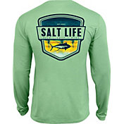 Salt Life Men's Electric Skinz Badge Long Sleeve Performance Shirt