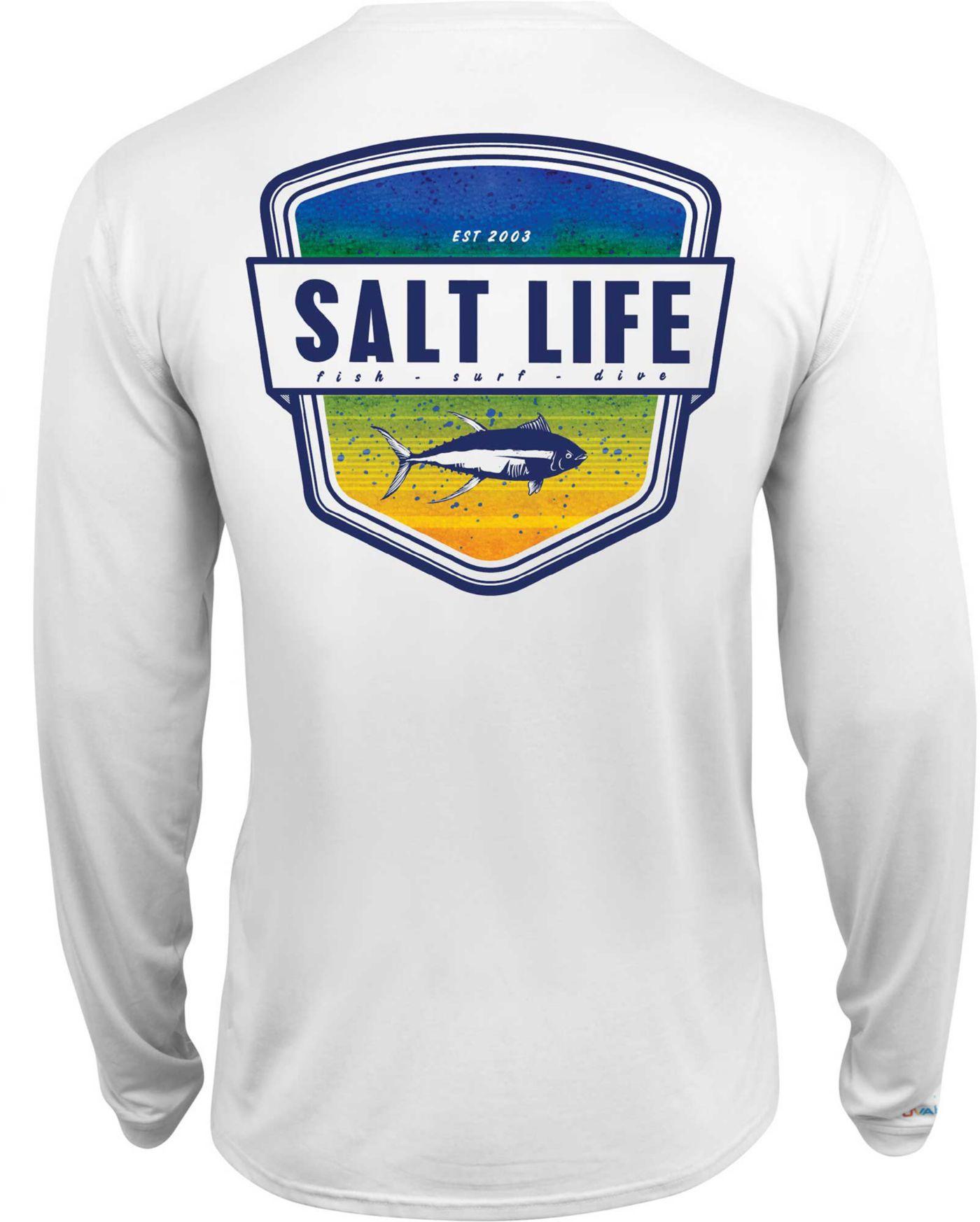 Salt Life Men's Electric Skinz Badge Long Sleeve Performance Shirt