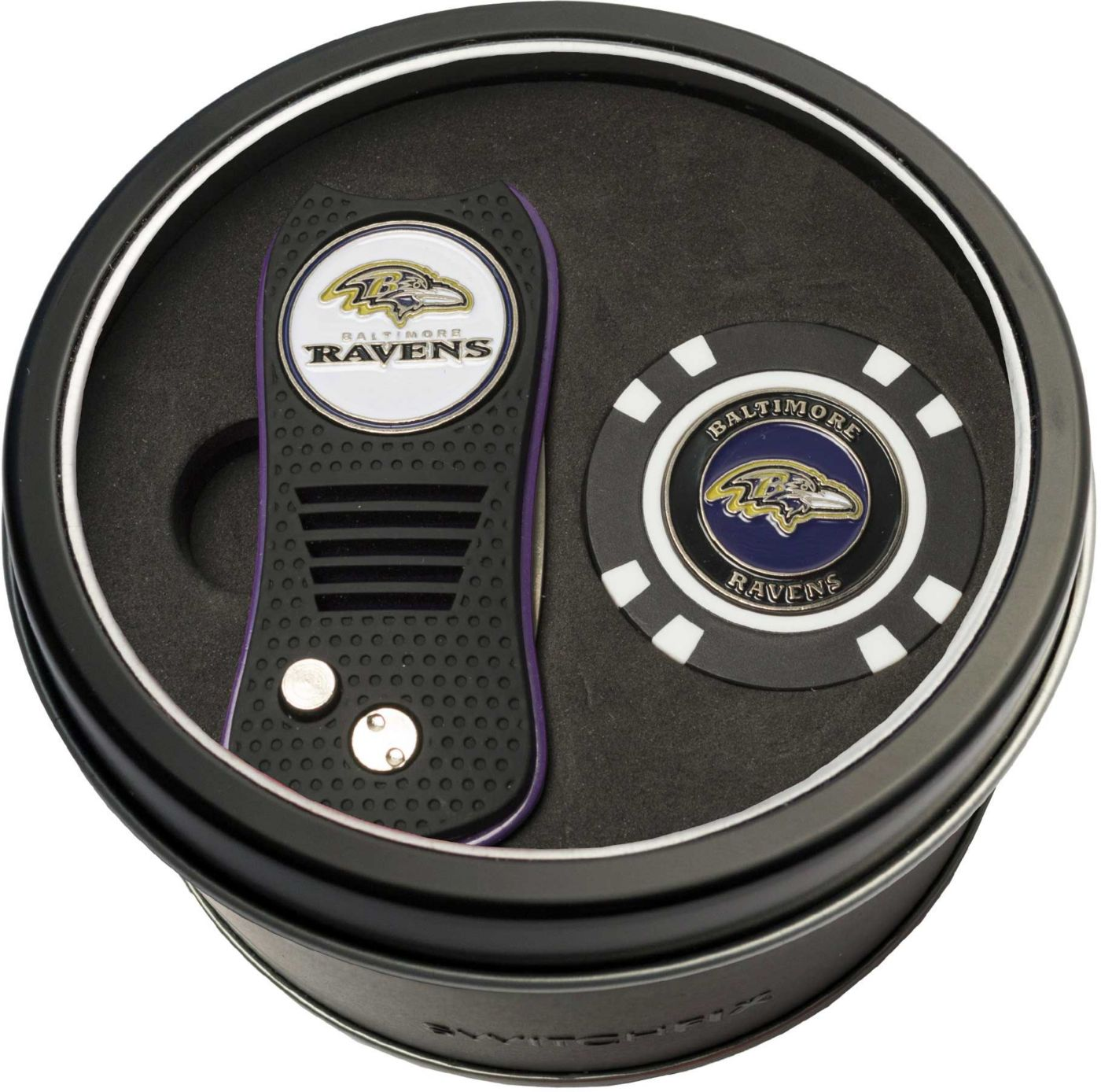 Team Golf Baltimore Ravens Switchfix Divot Tool and Poker Chip Ball Marker Set