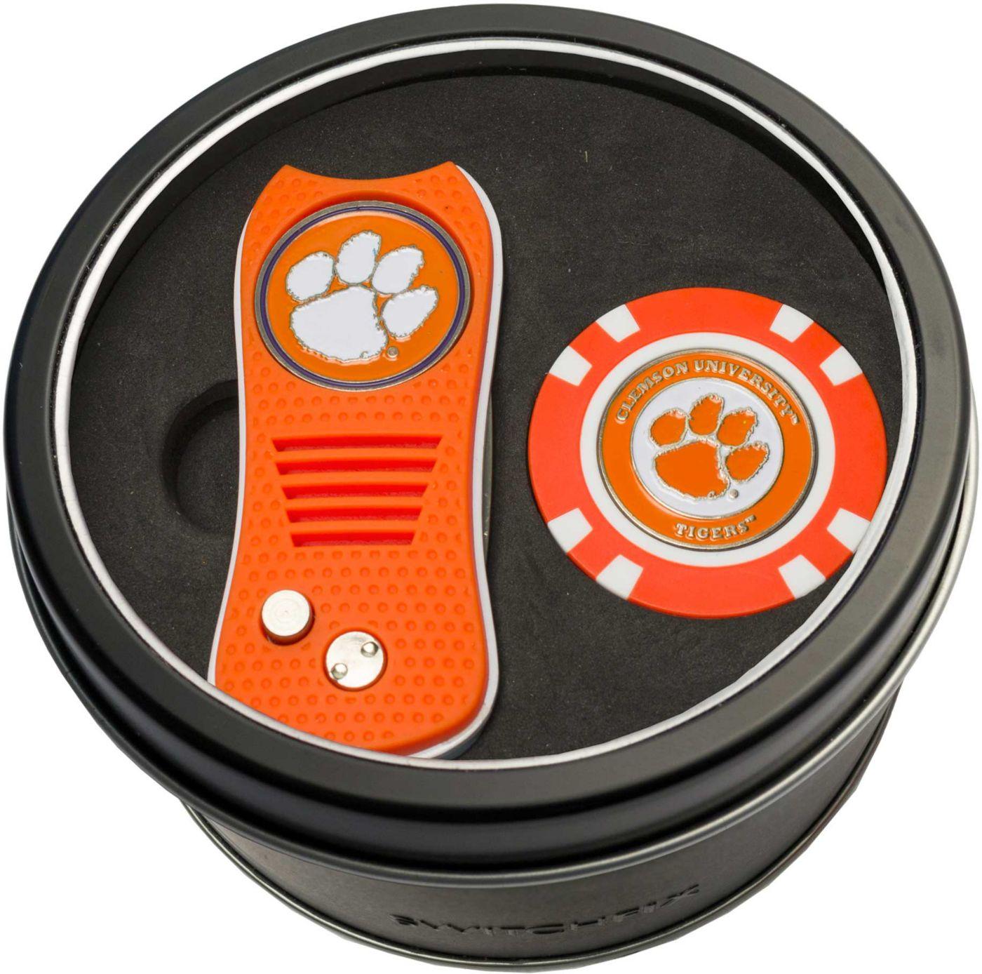 Team Golf Clemson Tigers Switchfix Divot Tool and Poker Chip Ball Marker Set