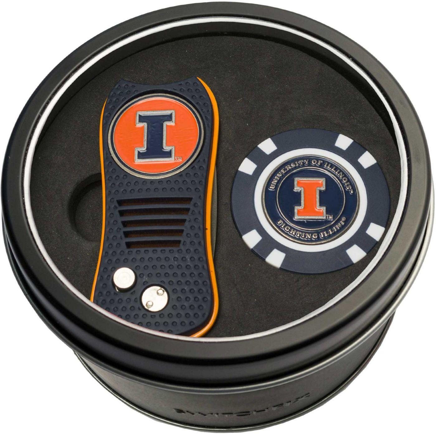Team Golf Illinois Fighting Illini Switchfix Divot Tool and Poker Chip Ball Marker Set