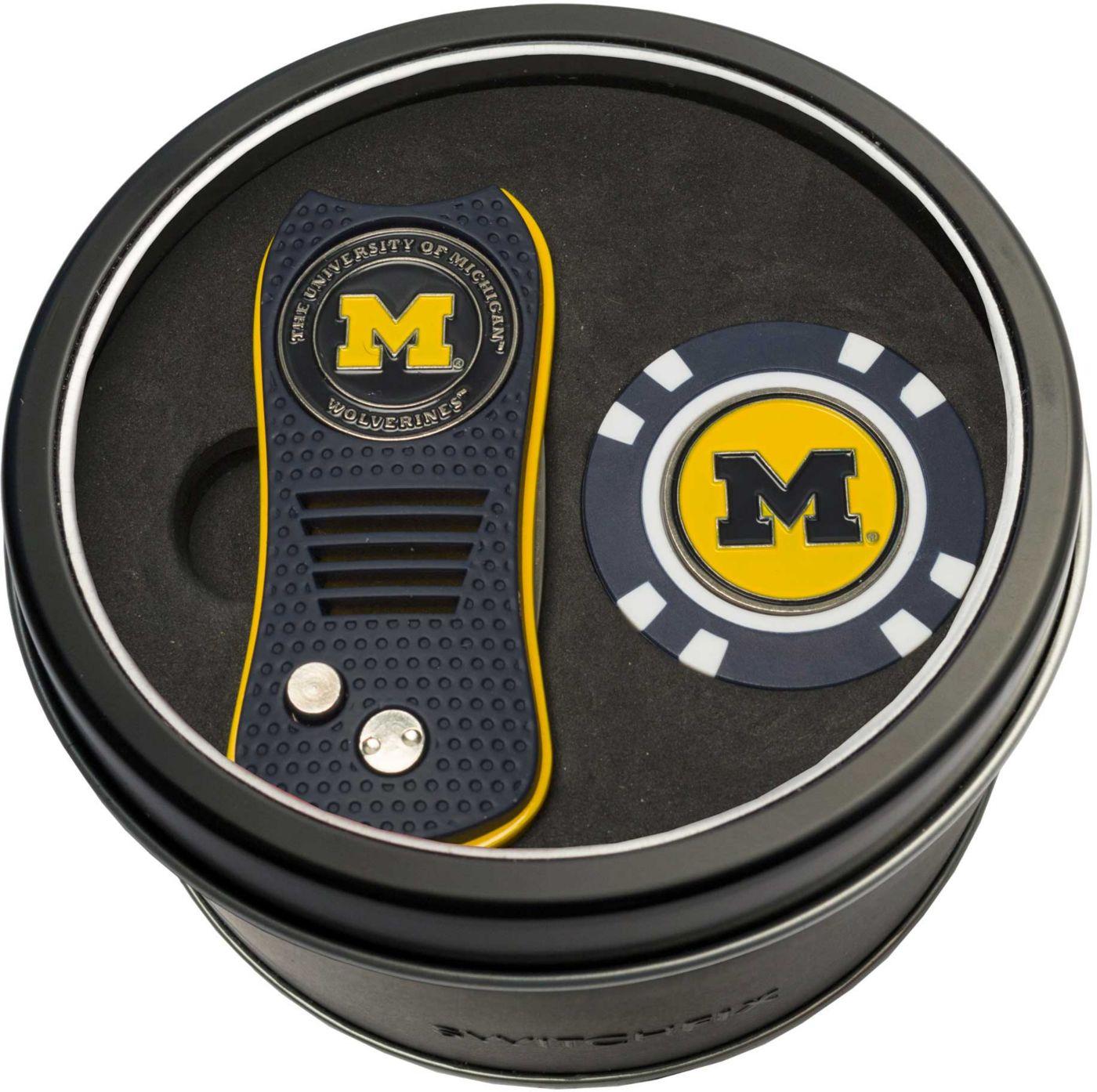Team Golf Michigan Wolverines Switchfix Divot Tool and Poker Chip Ball Marker Set