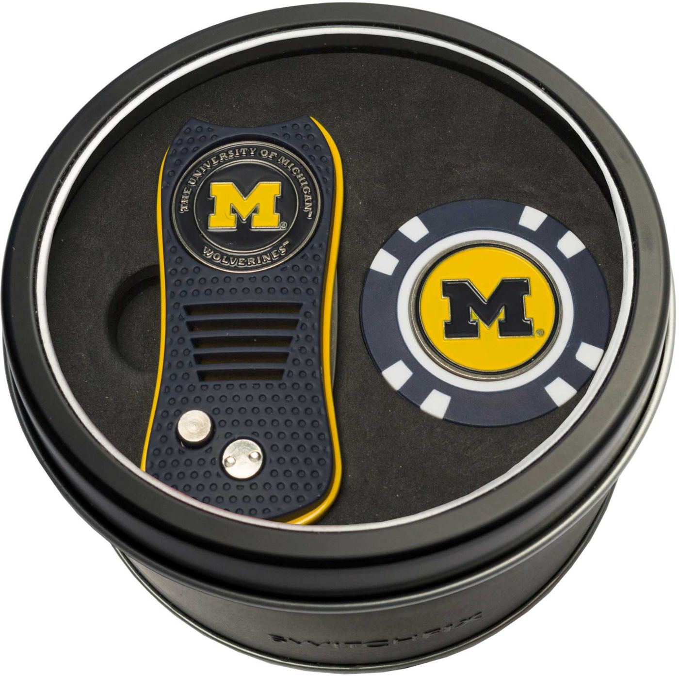 Team Golf Michigan Wolverines Switchfix Divot Tool and Poker Chip Ball Marker Set