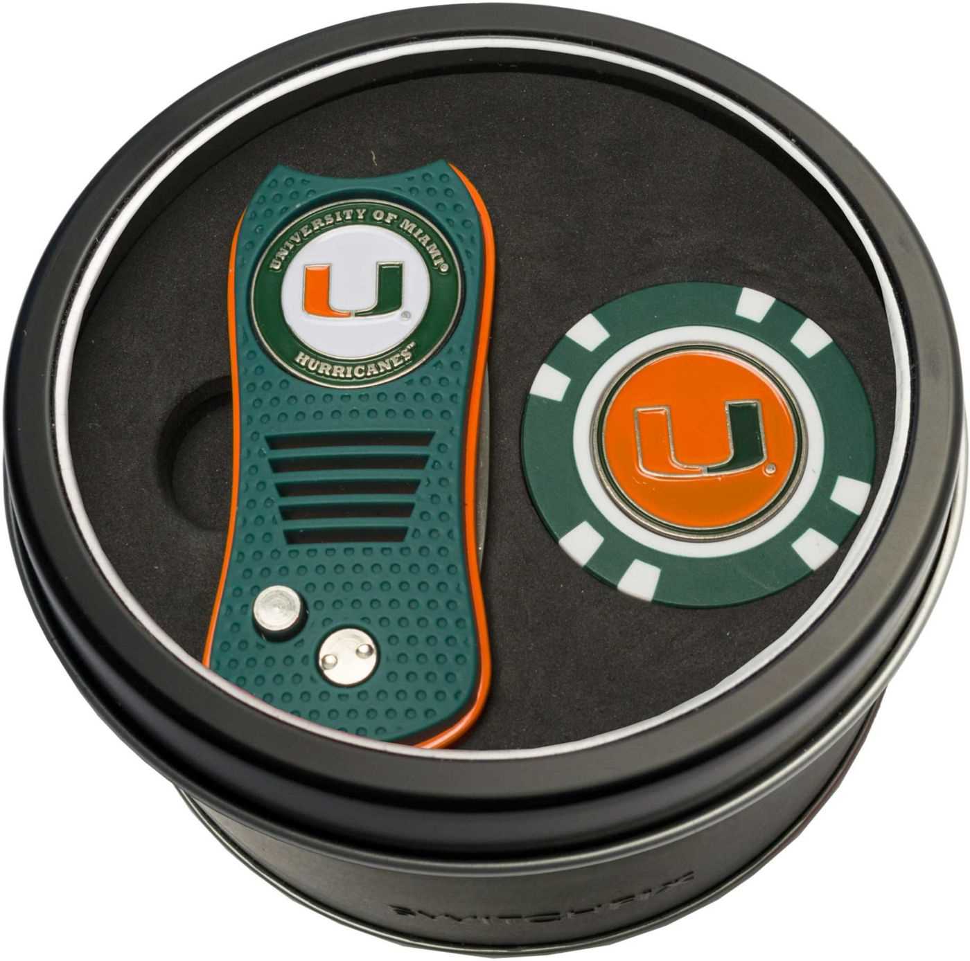 Team Golf Miami Hurricanes Switchfix Divot Tool and Poker Chip Ball Marker Set