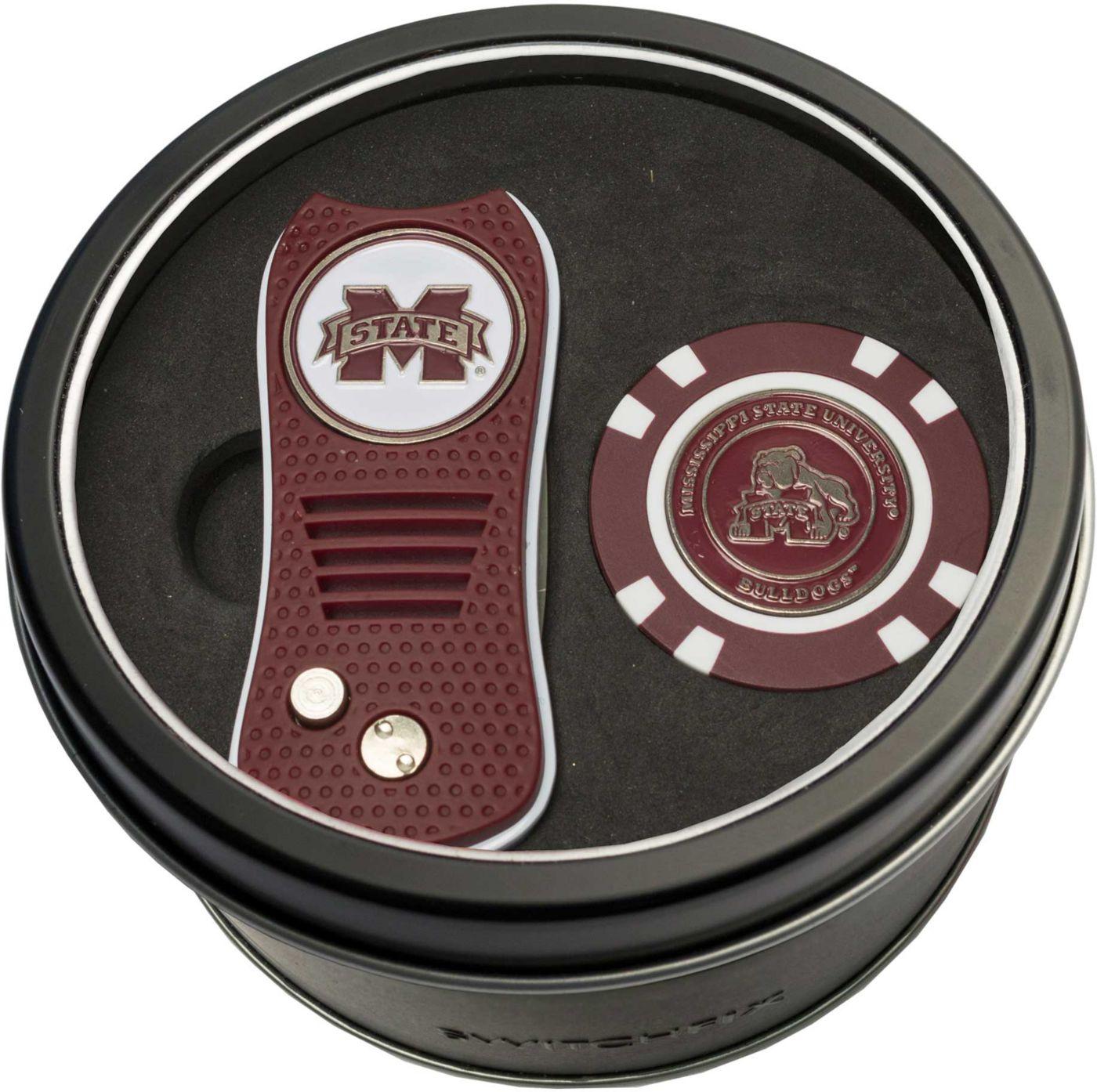 Team Golf Mississippi State Bulldogs Switchfix Divot Tool and Poker Chip Ball Marker Set