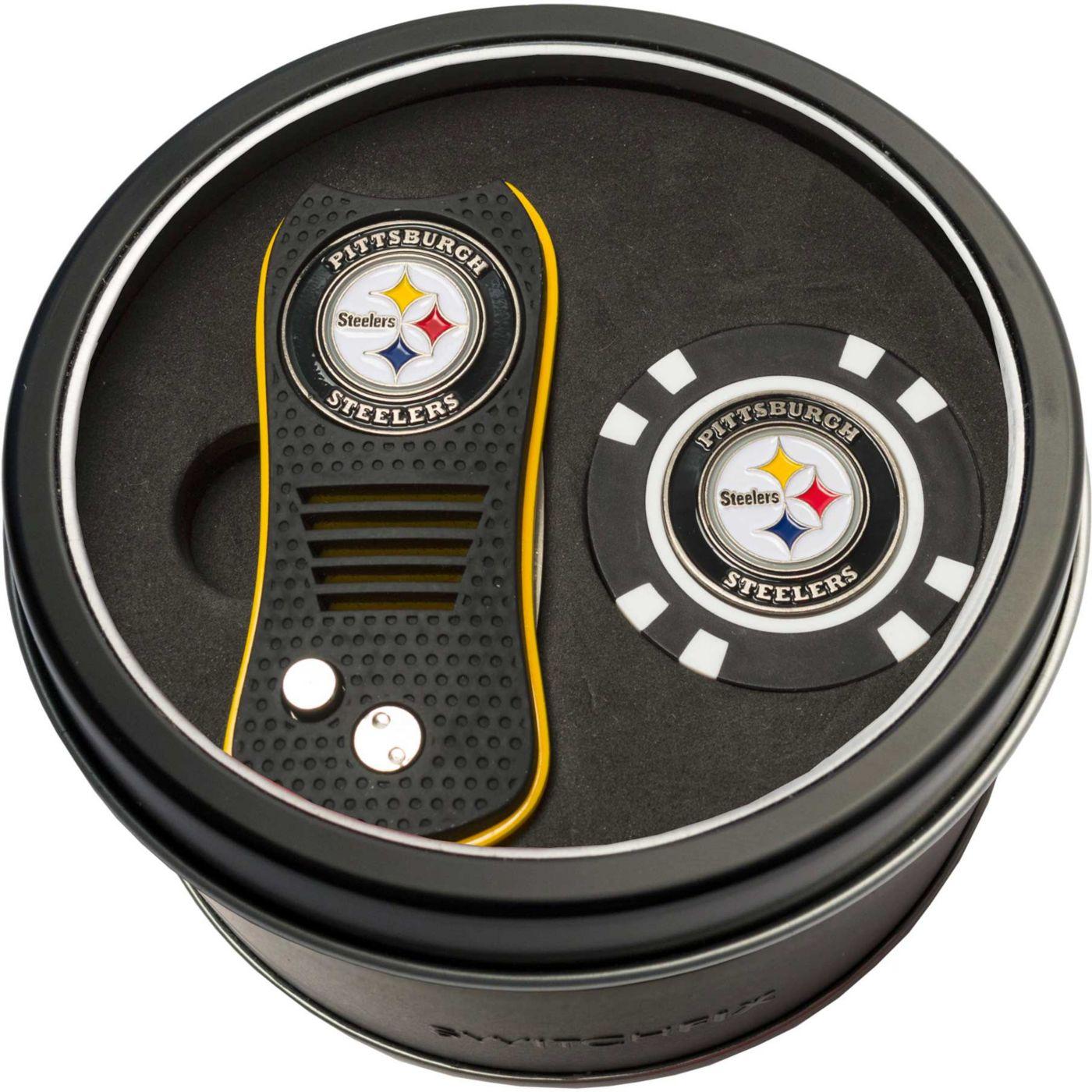 Team Golf Pittsburgh Steelers Switchfix Divot Tool and Poker Chip Ball Marker Set