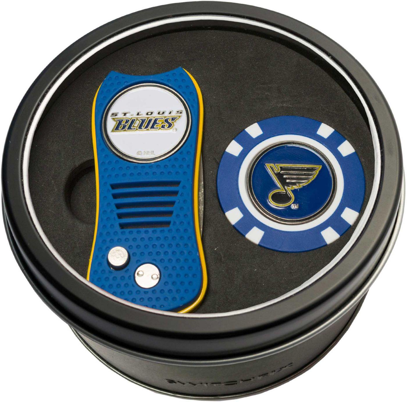 Team Golf St. Louis Blues Switchfix Divot Tool and Poker Chip Ball Marker Set