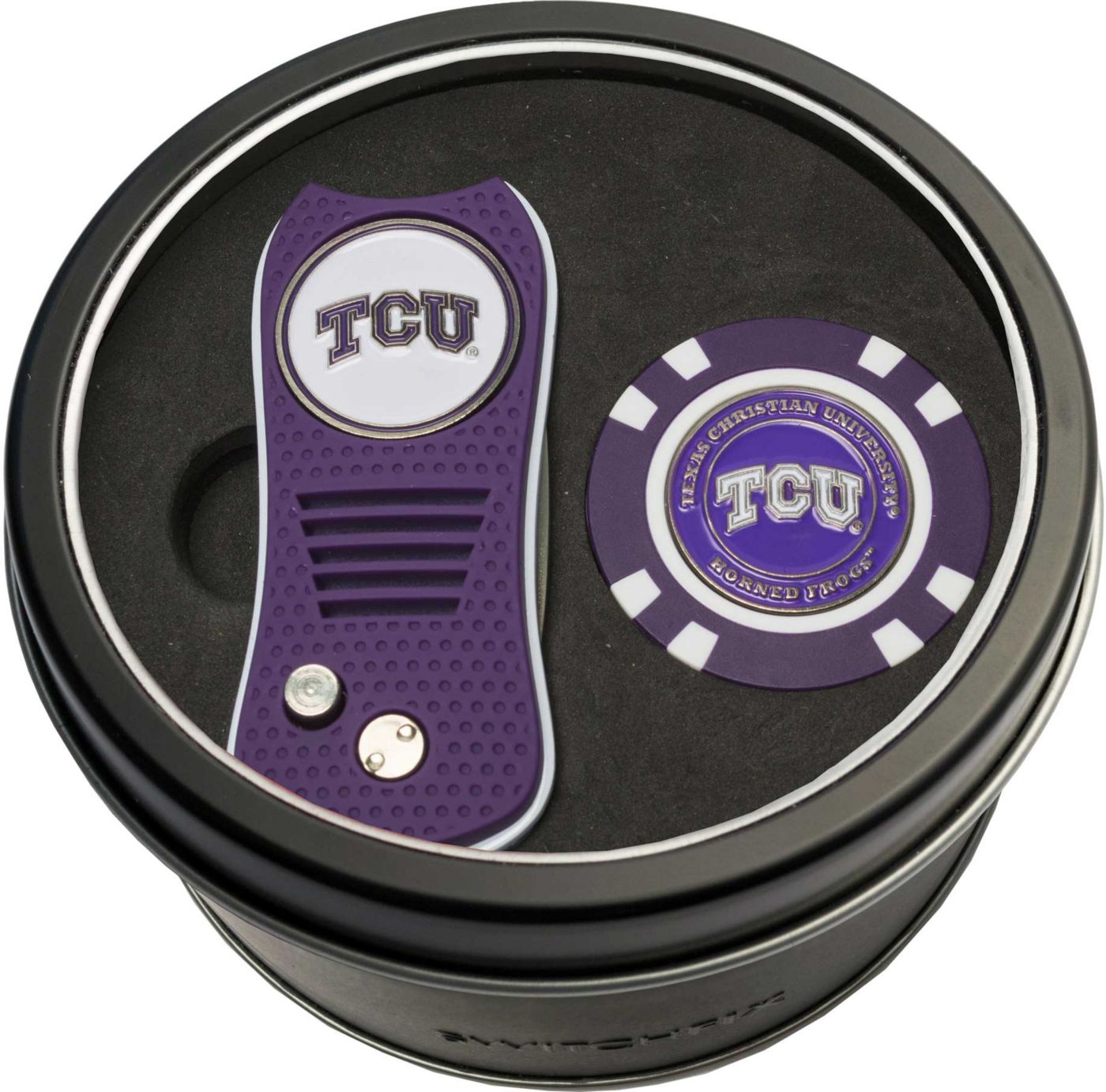 Team Golf TCU Horned Frogs Switchfix Divot Tool and Poker Chip Ball Marker Set
