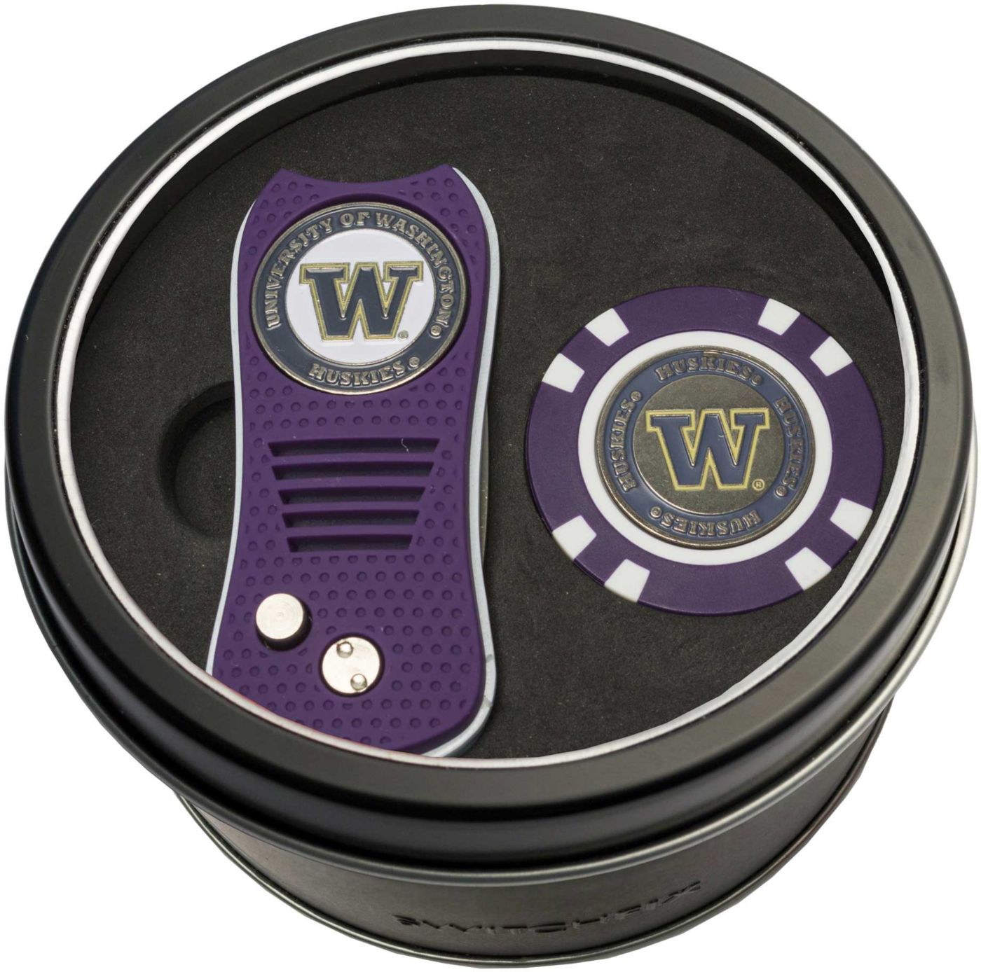 Team Golf Washington Huskies Switchfix Divot Tool and Poker Chip Ball Marker Set