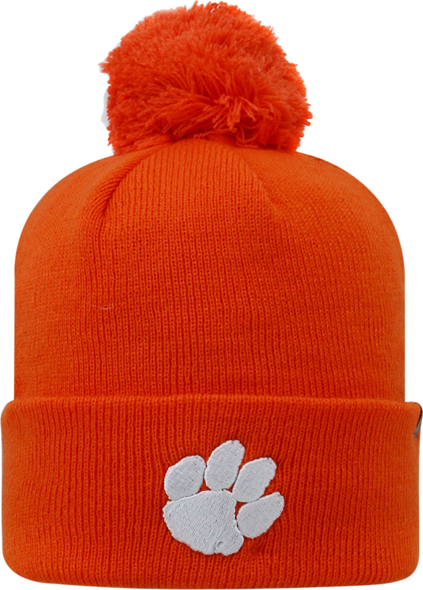 Top of the World Men's Clemson Tigers Orange Pom Knit Beanie