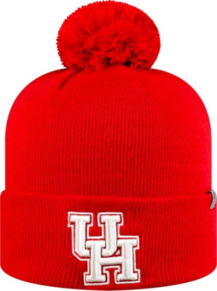 new product 3d3f3 1607b ... italy top of the world mens houston cougars red pom knit beanie 8d983  f4afd