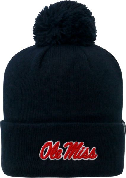 Top of the World Men s Ole Miss Rebels Blue Pom Knit Beanie  ca4bf9c8b42