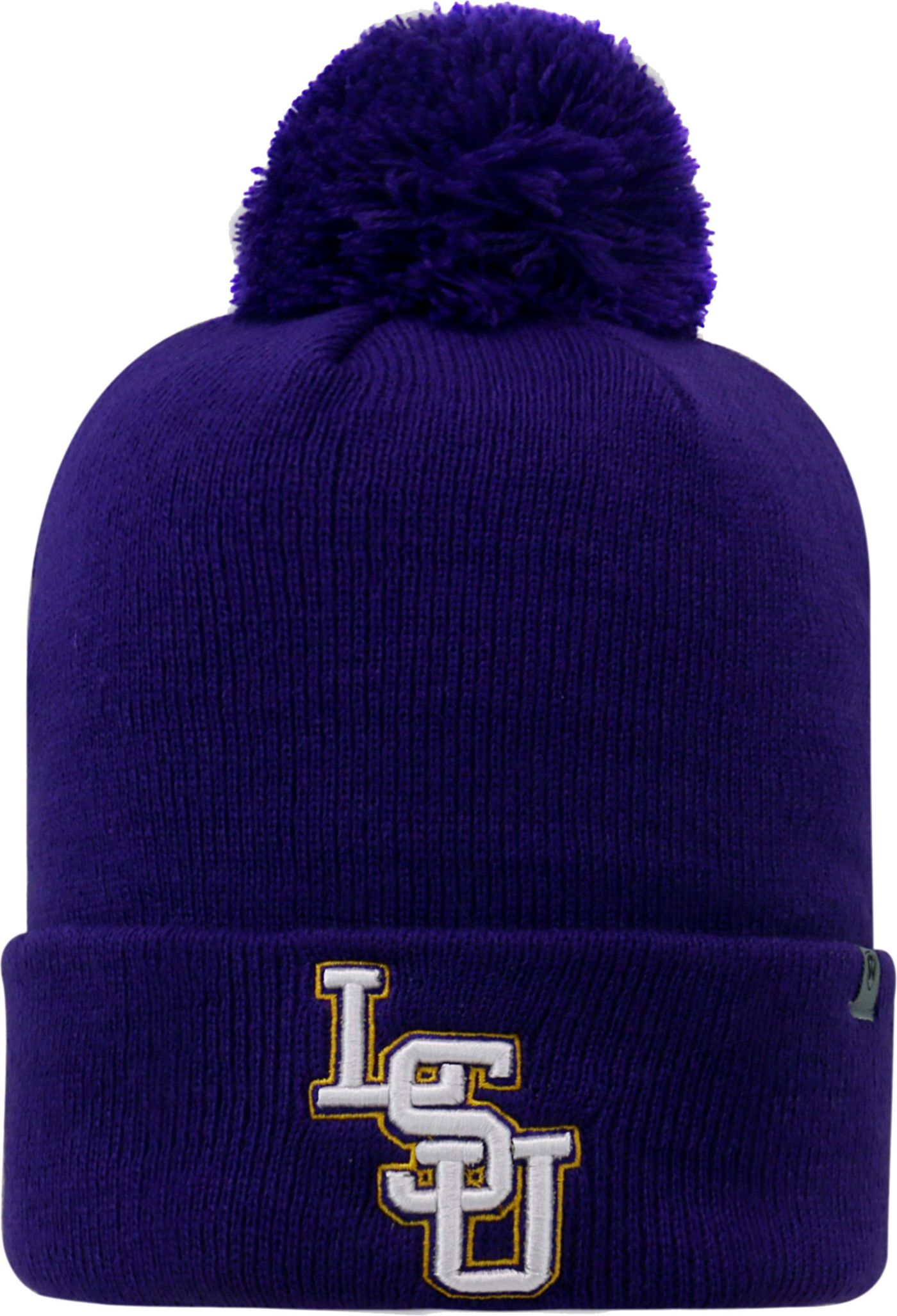 Top of the World Men's LSU Tigers Purple Pom Knit Beanie