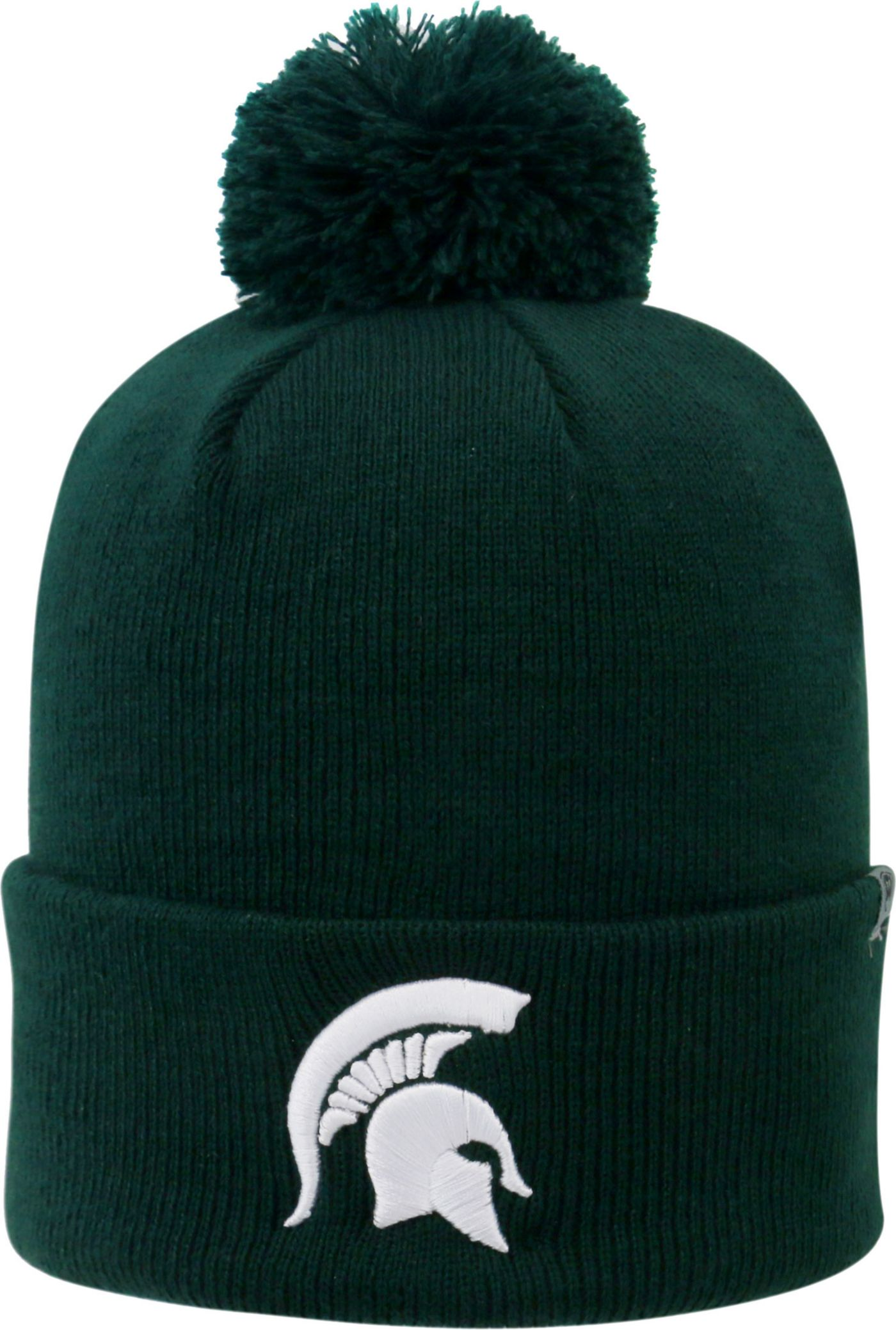 Top of the World Men's Michigan State Spartans Green Pom Knit Beanie