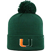 Top of the World Men's Miami Hurricanes Green Pom Knit Beanie