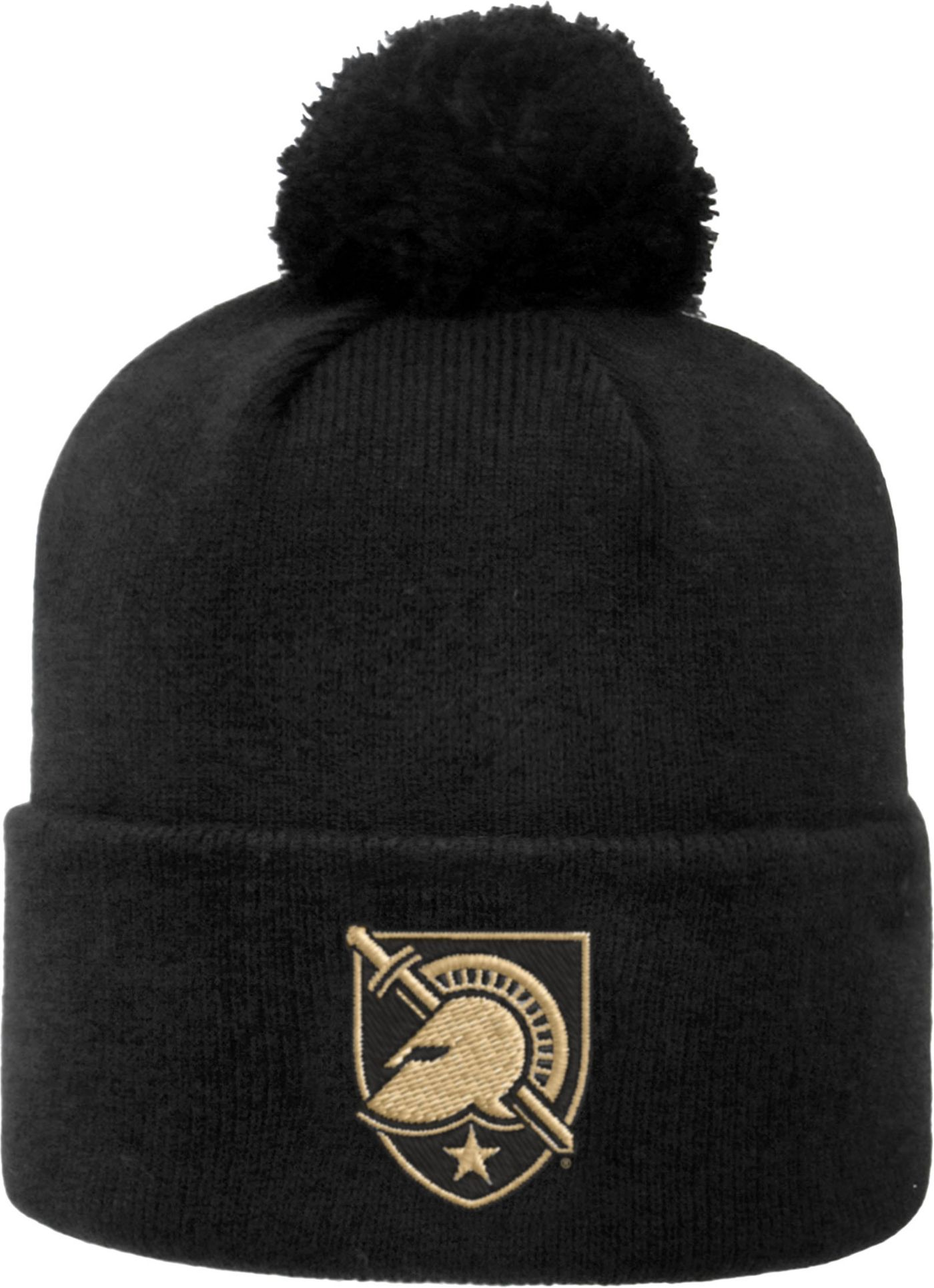 Top of the World Men's Army West Point Black Knights Army Black Pom Knit Beanie
