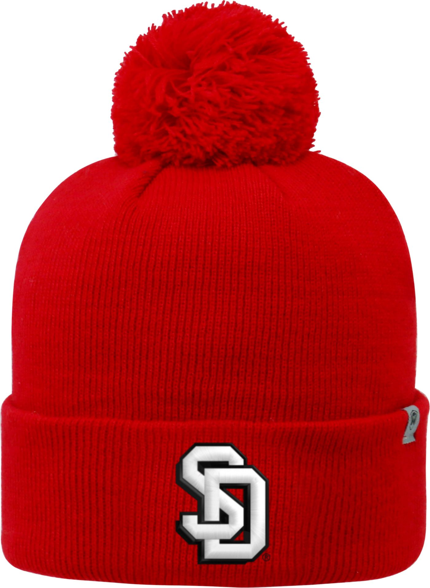 Top of the World Men's South Dakota Coyotes Red Pom Knit Beanie